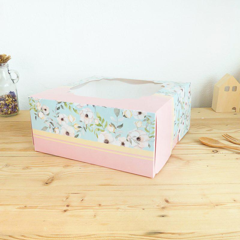 กล่องเค้ก1 ปอนด์ ลายดอกไม้ชมพูฟ้า
