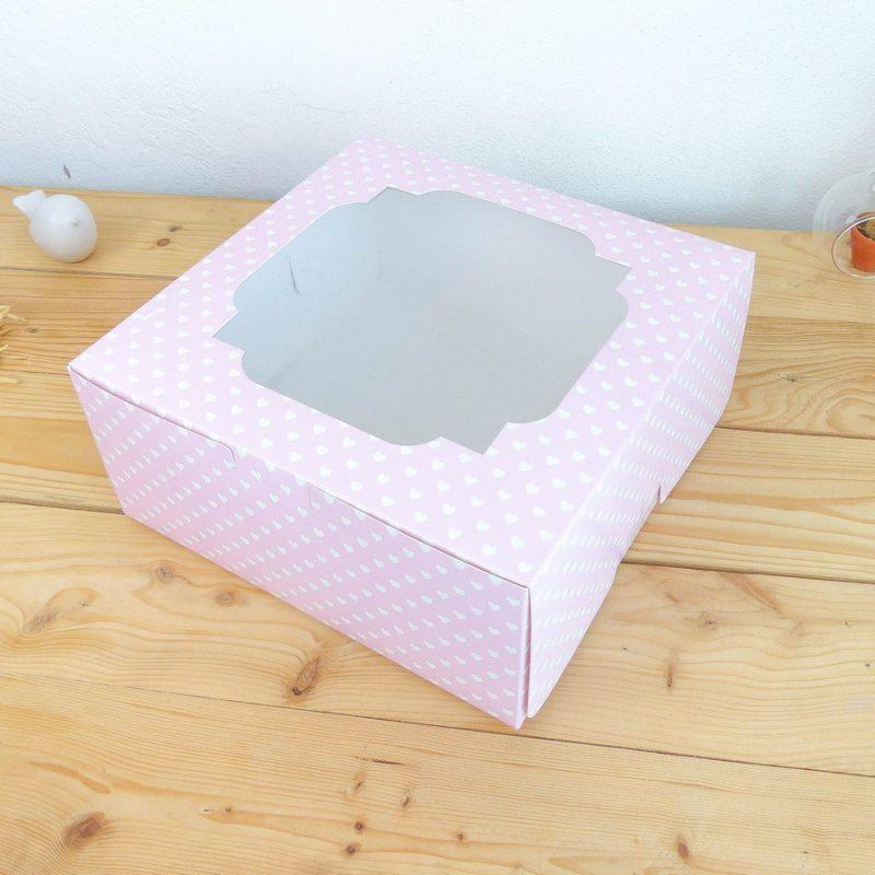 กล่องเค้ก3ปอนด์ ทรงปกติ ลายหัวใจชมพู