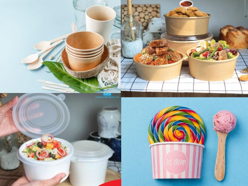 ตัวอย่างอาหารใส่ถ้วยกระดาษ